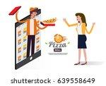 pizza delivery boy handing...   Shutterstock .eps vector #639558649