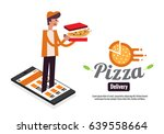 pizza boy and boxes on... | Shutterstock .eps vector #639558664