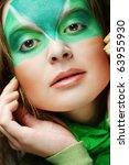 woman with green creative make...   Shutterstock . vector #63955930