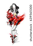 woman fashion model  hand drawn ... | Shutterstock . vector #639565300