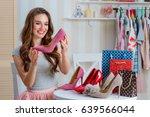 girl hold high heels shoe. line ... | Shutterstock . vector #639566044