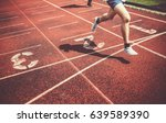 legs of runners approaching the ... | Shutterstock . vector #639589390