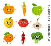 animated food flat icon set | Shutterstock .eps vector #639605548