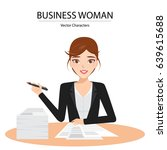 woman writing with many... | Shutterstock .eps vector #639615688