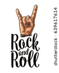 rock and roll sign. hand with... | Shutterstock .eps vector #639617614
