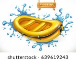 inflatable boat. white water... | Shutterstock .eps vector #639619243