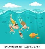 Family Swimming Underwater....