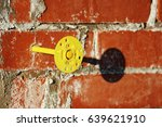 yellow mounting pair dowel nail ... | Shutterstock . vector #639621910