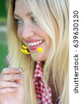 spring girl. lovely blond girl ... | Shutterstock . vector #639630130