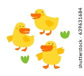 cute print with duck  | Shutterstock .eps vector #639631684