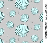 vector seashells with jewels.... | Shutterstock .eps vector #639635320