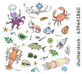 seafood set doodle icons or... | Shutterstock .eps vector #639641860