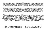 Stock vector vintage baroque victorian frame border monogram floral ornament leaf scroll engraved retro flower 639662350