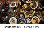 international mix set foods top ... | Shutterstock . vector #639667498