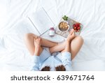 young woman eating healthy... | Shutterstock . vector #639671764