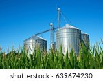 Grain elevator silos and midsummer corn in Southwestern Michigan
