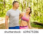 embracing young sport couple ... | Shutterstock . vector #639675286