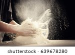 making dough by female hands at ... | Shutterstock . vector #639678280