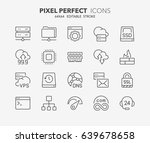 thin line icons set of hosting...