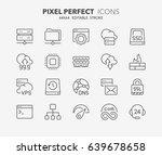 Thin Line Icons Set Of Hosting...