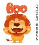 lion cartoon emoji character... | Shutterstock .eps vector #639684160