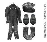 big bike leather jacket  gloves ... | Shutterstock . vector #639687814
