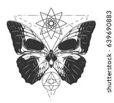 butterfly skull tattoo | Shutterstock .eps vector #639690883