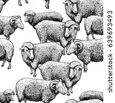 seamless pattern with sheep.... | Shutterstock .eps vector #639693493