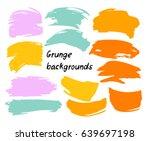 set of twelve trendy smeared... | Shutterstock .eps vector #639697198