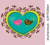 bird in heart ornament | Shutterstock .eps vector #639703864