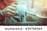 women drink coffee on the...   Shutterstock . vector #639706564