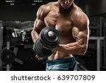 muscular man working out in gym ... | Shutterstock . vector #639707809