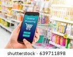 online shoping concept.hands... | Shutterstock . vector #639711898