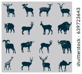 set of simple hoofed animals... | Shutterstock .eps vector #639723643