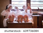 group of famale friends in spa... | Shutterstock . vector #639736084
