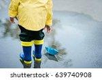 little boy in raincoat and...   Shutterstock . vector #639740908
