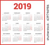 calendar for 2019 year on white ... | Shutterstock .eps vector #639746986