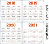 set of calendars for 2018  2019 ... | Shutterstock .eps vector #639747046