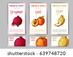 set of organic fruits cards.... | Shutterstock .eps vector #639748720