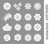 vector paper flowers set... | Shutterstock .eps vector #639754303