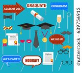 graduation photo booth props... | Shutterstock .eps vector #639756913