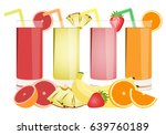 glass of juice and fruit | Shutterstock .eps vector #639760189
