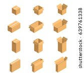 cardboard boxes isometric style ... | Shutterstock .eps vector #639761338