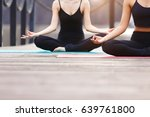 yoga group concept. young... | Shutterstock . vector #639761800