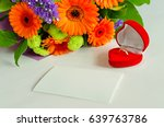 bouquet with a note and a ring | Shutterstock . vector #639763786
