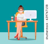 woman in the office at the... | Shutterstock .eps vector #639767158