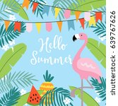 hello summer greeting card ... | Shutterstock .eps vector #639767626