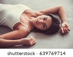 top view. beautiful young woman ... | Shutterstock . vector #639769714