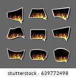 comics stiker  labell icon fire ...   Shutterstock . vector #639772498