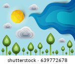 paper cut cartoon green plants... | Shutterstock .eps vector #639772678